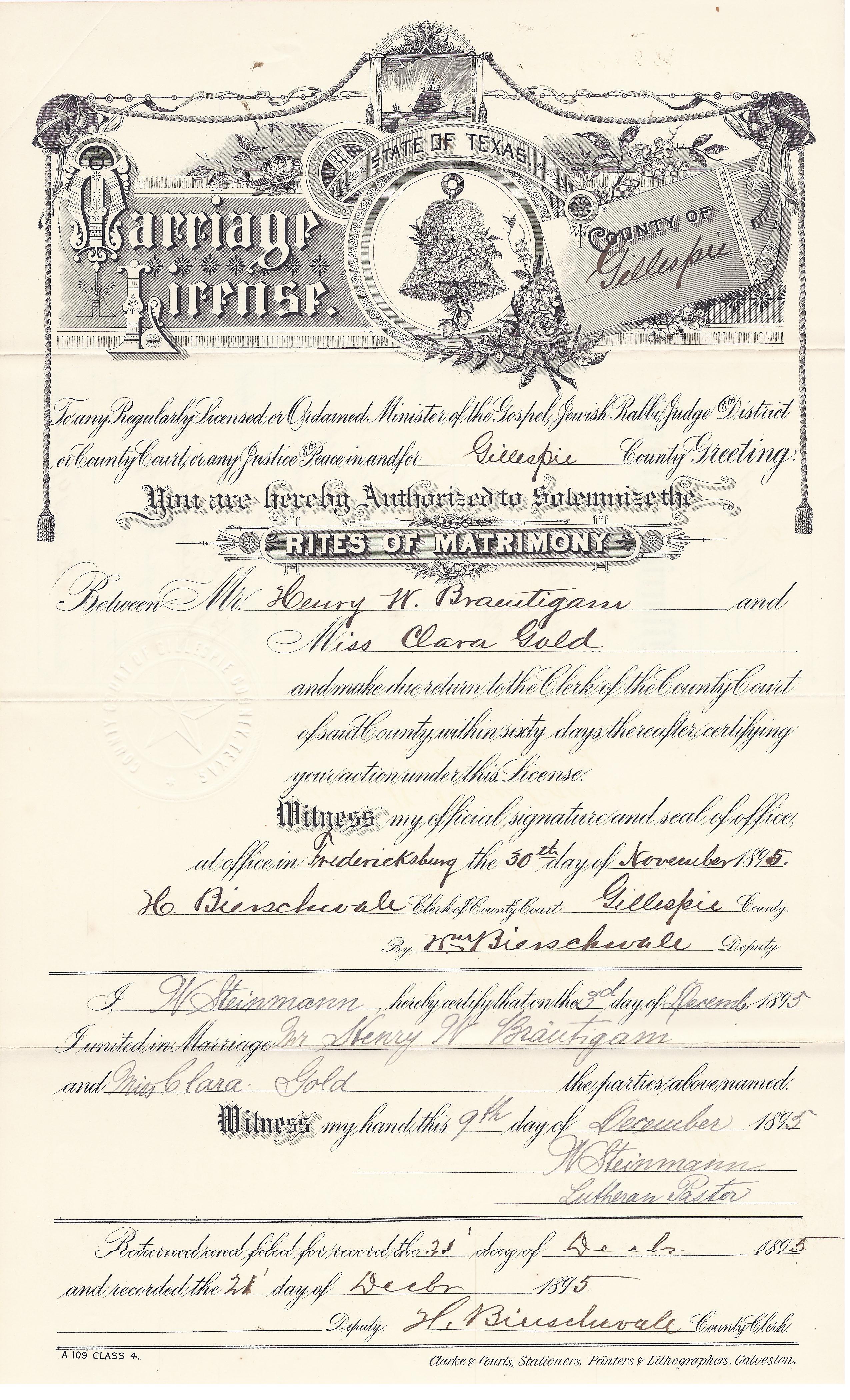 Henrybraeutigam henry braeutigam and clara gold marriage license xflitez Image collections